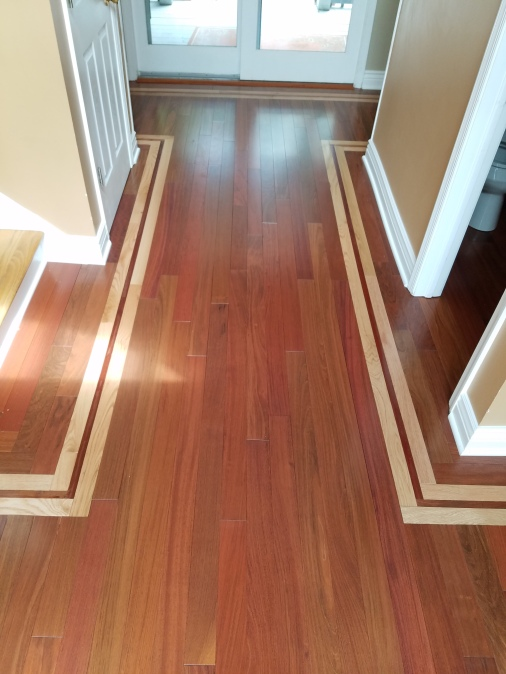 Monmouth County Project: A beautiful entrance customized white oak 2 1/4'' frame with 4'' Brazilian cherry